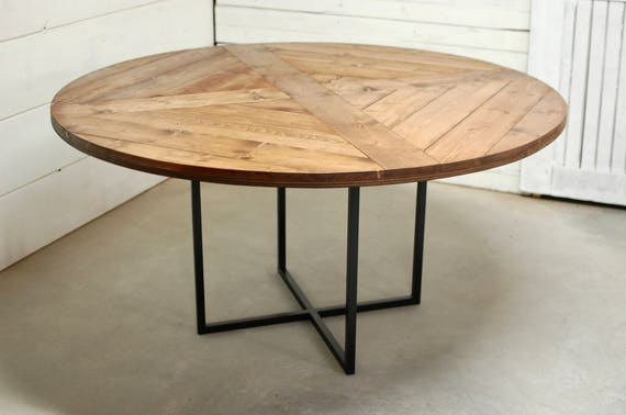 Round Wood Industrial Dining Table, Wood Furniture, Modern Kitchen Table,  Kitchen Table, Industrial Furniture, Reclaimed Wood, Dining Table