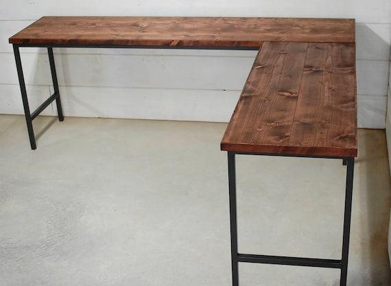 Bureau industriel en bois ordinateur de bureau mobilier etsy