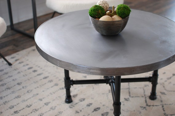 Round Industrial Zinc Coffee Table Round Coffee Table Etsy