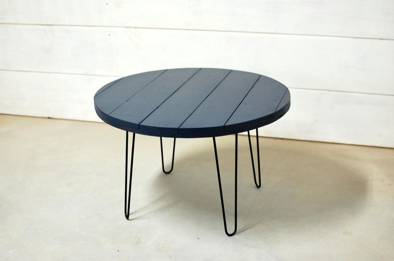 Etonnant Round Wood Coffee Table With Mid Century Modern Hairpin Legs, Wood Coffee  Table, Wood Table Rustic, Mid Century Modern Table, Round Table
