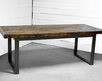 Wood Dining Table, Wood Furniture, Industrial Wood Dining Table, Kitchen Table, Conference Table, Reclaimed Wood Table, Industrial Table