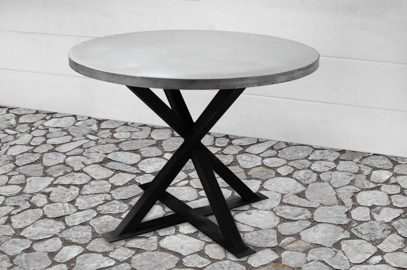 Round Zinc Dining Table Industrial Dining Table Zinc Table Etsy