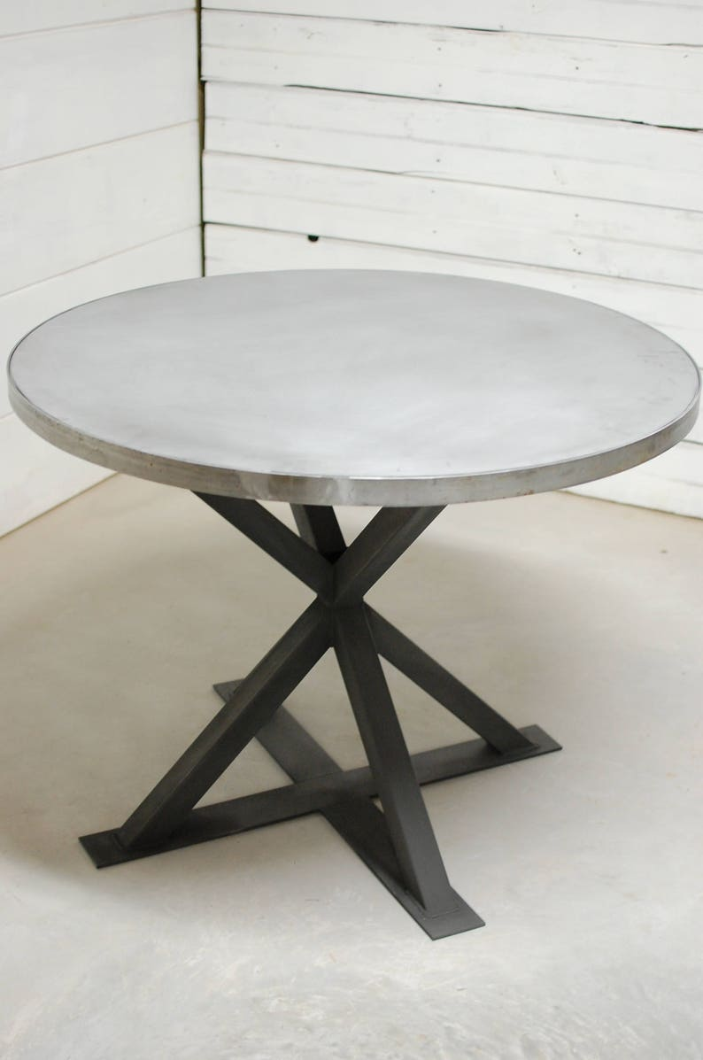 Round Zinc Dining Table Industrial Dining Table Zinc Table ...