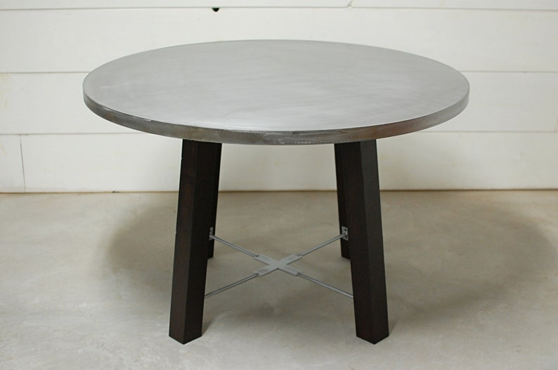 Round Dining Table, Round Zinc Dining Table, Industrial Dining Table, Zinc  Table Top, Kitchen Table, Industrial Furniture, Zinc, Industrial
