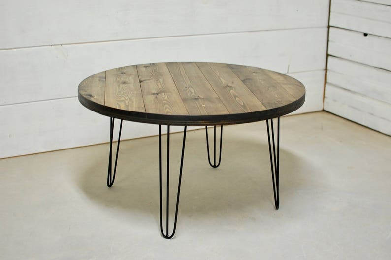 Mid Century Modern Round Wood Coffee Table Hairpin Legs Wood Etsy