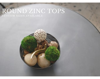 Zinc Top, Zinc Table Top, Outdoor Table, Industrial Zinc Table Top, Kitchen Table, Round Table Top, Outdoor Table, Zinc Patina, Metal Top