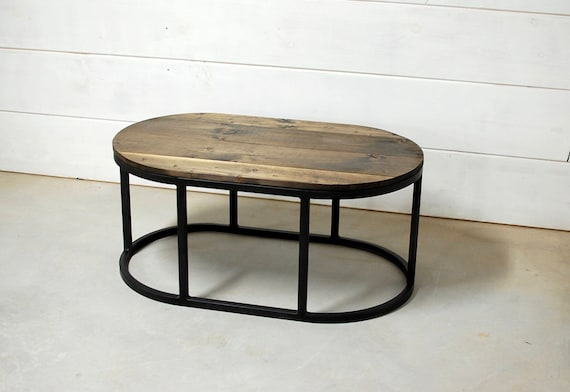 Oval Coffee Table, Round Wood Table, Reclaimed Wood Furniture, Rustic  Table, Farmhouse, Industrial Furniture, Round Table, Coffee Table