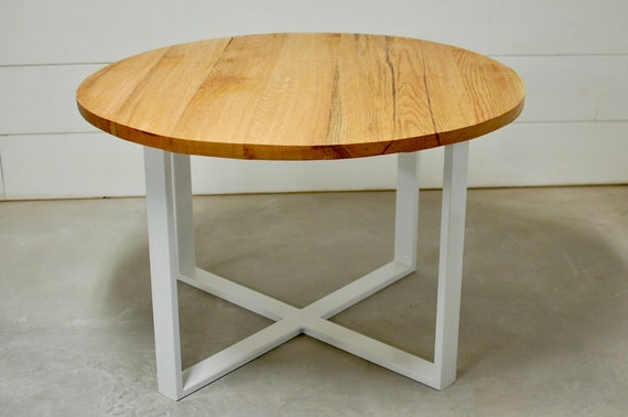 Round Wood Industrial Dining Table, Wood Furniture, Modern Kitchen Table,  Kitchen Table, Reclaimed Wood, Round Wood Table, Round Furniture