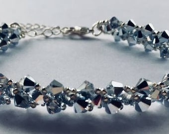 Encrusted Swarovski Crystal Bracelet with silver clasp and extender chain - Silver - gift boxed