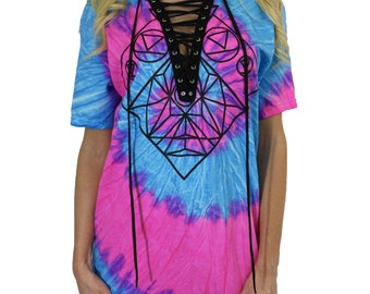a5372201 Ladies Music Festival Tie Dye Lace Up Shirt Funk Ya!