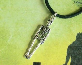 Skeleton Choker, Halloween Choker, Skeleton Necklace, Gothic Choker, Halloween Necklace, Skeleton Charm, Alternative Choker, Grunge Jewelry