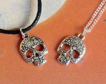 Sugar Skull Necklace, Halloween Necklace, Day Of The Dead, Skull Jewellery, Sugar Skull Pendant, Skull Accessories, Horror Necklace