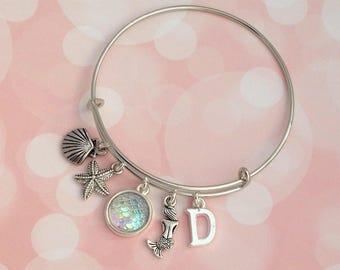 Mermaid Bangle, Mermaid Bracelet, Adjustable Bracelet, Expandable Bangle, Charm Bangle, Fantasy Bracelet, Beach Bangle, Personalised Gift