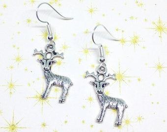 Reindeer Earrings, Christmas Earrings, Stag Earrings, Deer Jewelry, Festive Jewellery, Forest Earrings, Woodland Jewellery, Stocking Stuffer