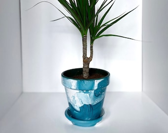 Handpainted planter bespoke painted marbled teracotta plant pot - single tone