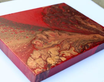 Red Gold Fluid Acrylic Original Canvas Painting - #16