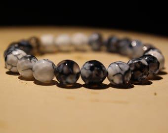 8mm Blue Marble Spotted Bracelet/Boho Bracelet/Blue Pattern Bracelet