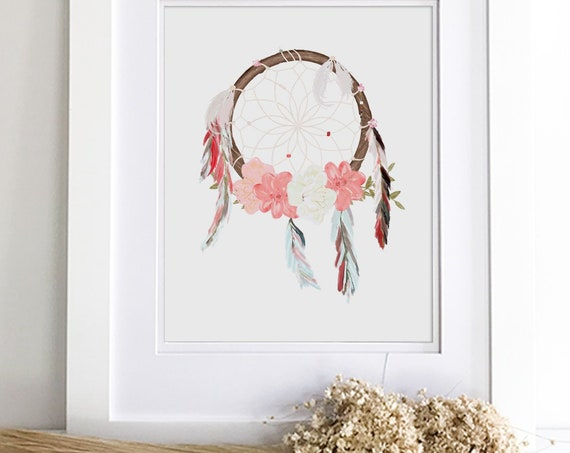Boho nursery dream catcher wall hanging print on canvas print or framed - Customize pink boho nursery flower and feather art