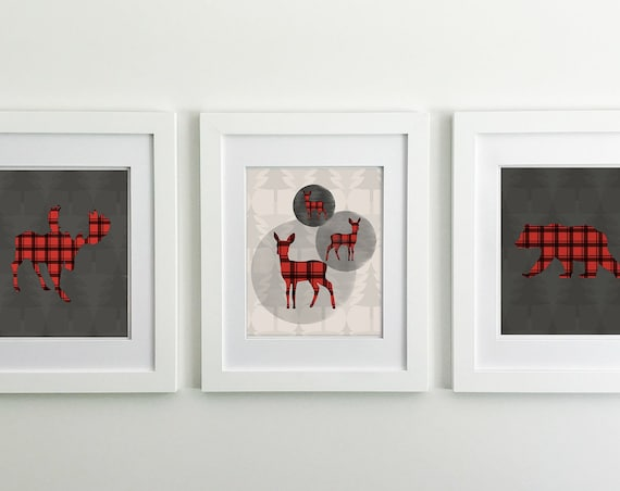 Buffalo Plaid - Rustic Nursery Decor - Moose - Moose Decor - Bear Print - Deer Print - Deer Nursery Decor - Woodland Nursery Decor