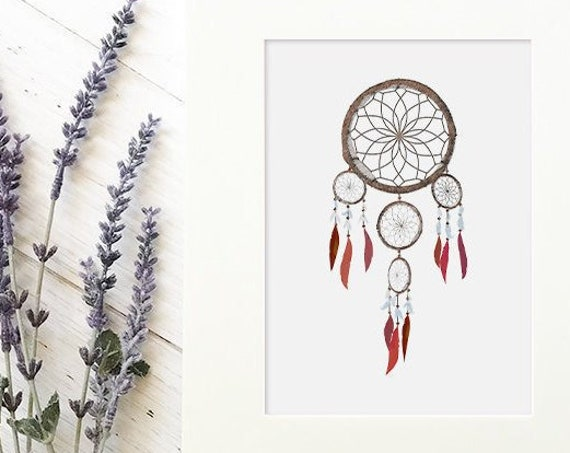 Girls tribal boho nursery dream catcher print - feather wall art