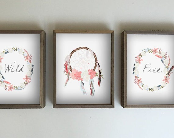 Boho nursery tribal dream catcher wall hanging print - blush pink nursery