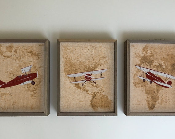 Vintage airplane nursery decor - Red airplane nursery wall art on print canvas or framed - Customize colors