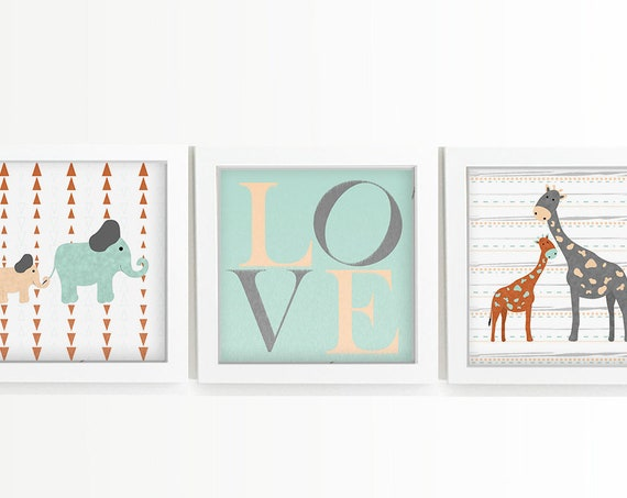 African safari zoo animal giraffe and elephant nursery art prints - Customize color