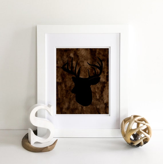 Deer Antlers - Deer Print - Nursery Name Sign - Baby Name Sign - Rustic Baby Shower - Deer Decor - Rustic Nursery Decor - Deer Nursery Decor