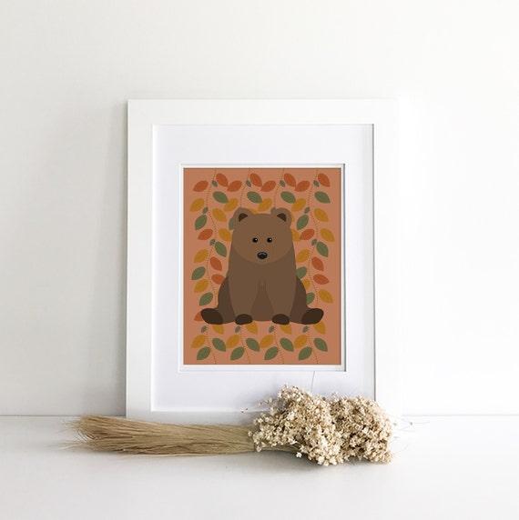 Bear Print - Bear Nursery Decor - Bear Decor - Bear Silhouette - Woodland Nursery Decor - Nursery Woodland Prints - Wilderness Nursery