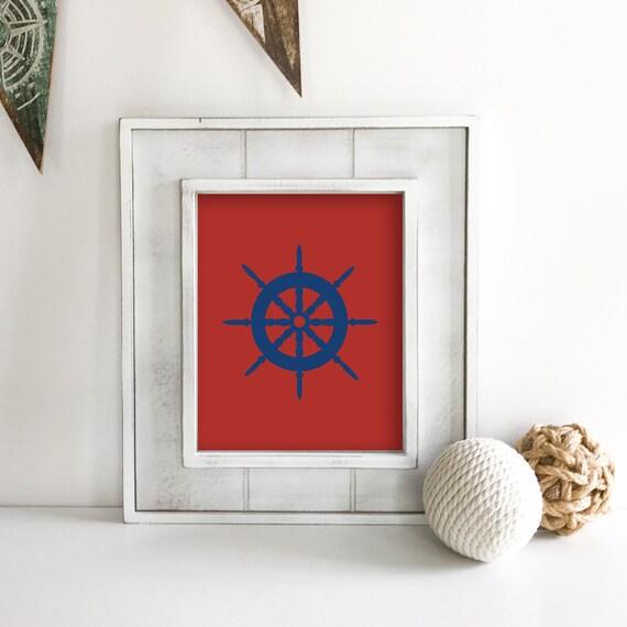 Ship Wheel - Nautical Nursery - Sea Turtle - Seahorse - Sea Animals - Nautical Baby Shower - Coastal Wall Art - Ocean Nursery - Ocean