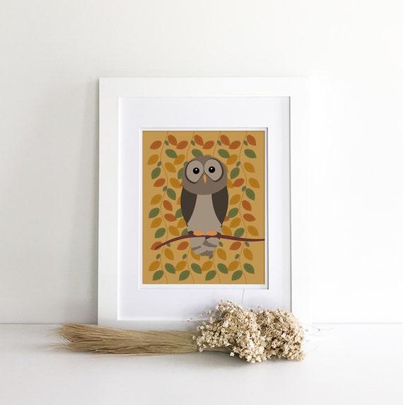 Owl Print - Owl Nursery - Owl Decor - Owl Silhouette - Woodland Nursery Decor - Nursery Woodland Prints - Wilderness Nursery