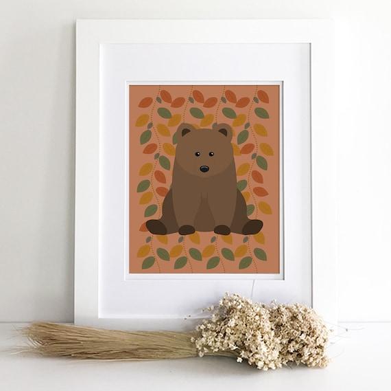 Girl woodland animal nursery decor print set - Woodland creatures - Fox art print - Bear nursery art - Owl nursery decor