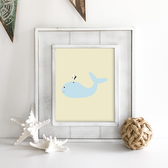 Whale Print - Whale Art - Nautical Nursery - Nautical Baby Shower - Sea Animals - Octopus Wall Art - Coastal Wall Art - Anchor Wall Decor