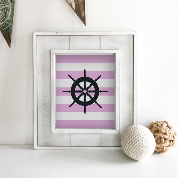 Nautical Nursery - Ship Wheel - Sailboat - Nautical Baby Shower - Coastal Wall Art - Anchor Wall Decor - Lake House Decor - Ocean