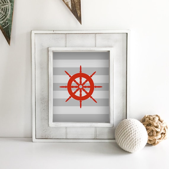 Nautical Nursery - Ship Wheel - Sailboat - Nautical Baby Shower - Coastal Wall Art - Anchor Wall Decor - Lake House Decor - Ocean