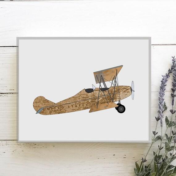 Travel Nursery Print - Adventure Nursery - Explorer Map Print - Transportation nursery art - Vintage Airplane Nursery - Train Nursery