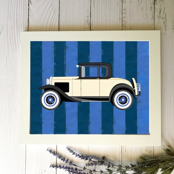 Classic vintage car nursery art prints - patriotic red white and blue