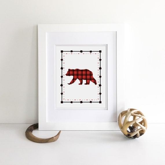 Buffalo Plaid - Bear Print - Bear Nursery Decor - Nursery Woodland Prints - Woodland Nursery Decor - Wilderness Nursery - Lumberjack Nursery