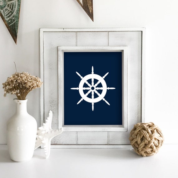 Nautical Nursery - Ship Wheel - Nautical Baby Shower - Coastal Wall Art - Coastal Wall Decor - Ocean Nursery - Anchor Wall Decor - Ocean