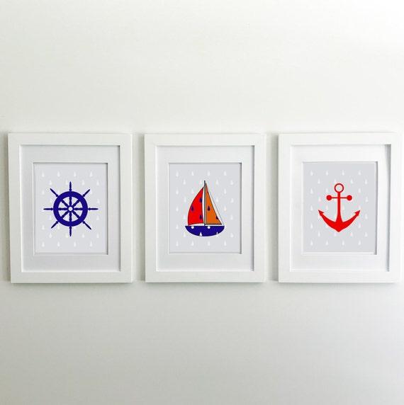 Nautical Nursery - Sailboat - Nautical Baby Shower - Coastal Wall Art - Coastal Wall Decor - Ocean Nursery - Anchor Wall Decor - Ocean