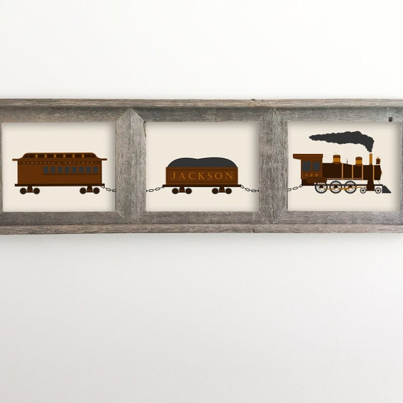 Train - Set of 3 Prints - Vintage Train - Train Set - Train Decor - Name Train - Train Nursery Decor - Train Wall Art - Train Print -