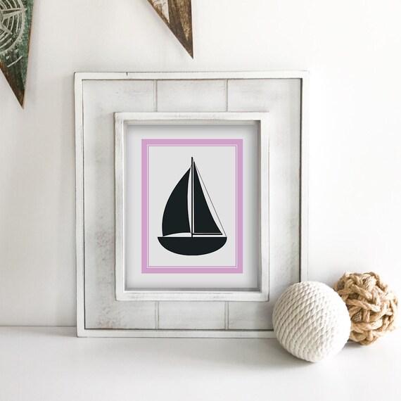 Sailboat - Nautical Nursery - Nautical Baby Shower - Coastal Wall Art - Anchor Wall Decor - Ship Wheel - Lake House Decor - Ocean