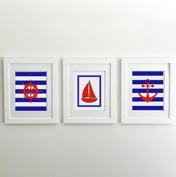 Nautical Nursery - Sailboat - Nautical Baby Shower - Coastal Wall Art - Anchor Wall Decor - Lake House Decor - Ship Wheel - Ocean