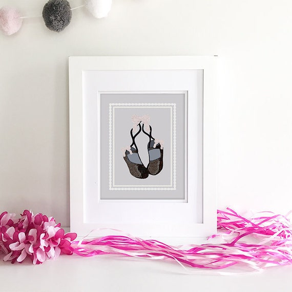 Ballerina Wall Art - Ballerina Print - Princess Baby Shower - Ballet Shoes - Princess Nursery - Ballerina Decor - Ballerina Slippers