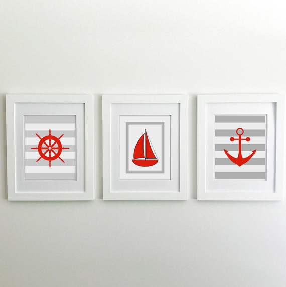 Nautical Nursery - Sailboat - Nautical Baby Shower - Coastal Wall Art - Anchor Wall Decor - Lake House Decor - Ship Wheel - Ocean