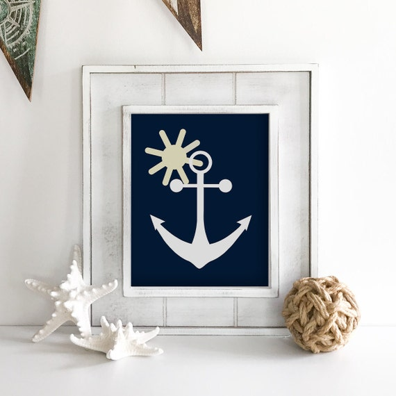 Anchor Wall Decor - Whale Print - Whale Art - Nautical Nursery - Nautical Baby Shower - Sea Animals - Octopus Wall Art - Coastal Wall Art