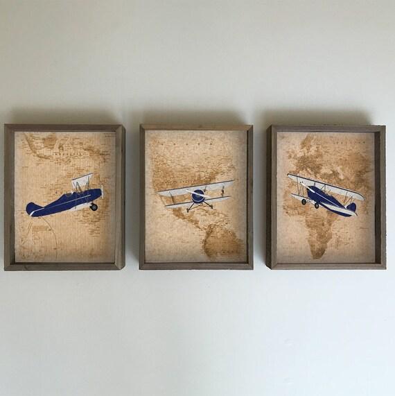 Airplane Nursery - Airplane Decor - Vintage Airplane Wall Decor - World Map Print - Vintage Airplane Nursery - Airplane