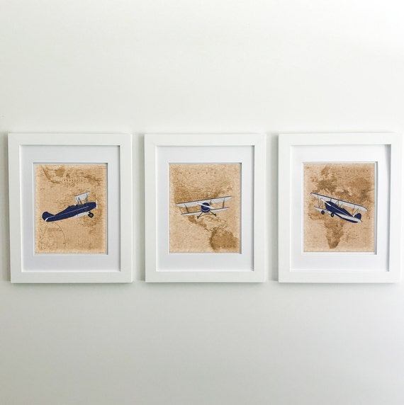 Airplane Nursery - Airplane Decor - Vintage Airplane Wall Decor - World Map Print - Vintage Airplane Nursery - Airplane