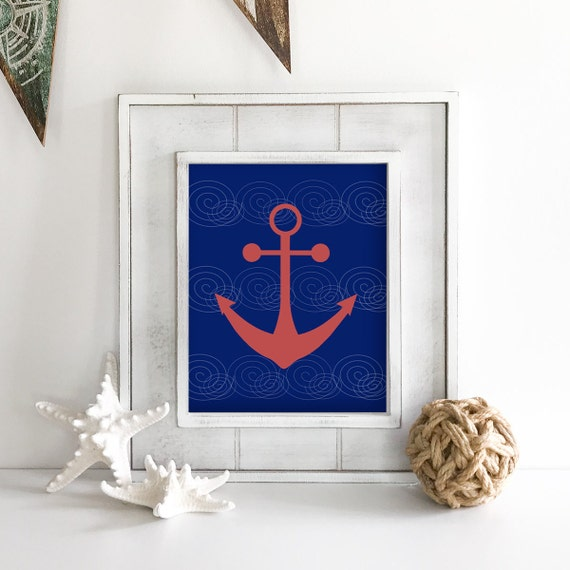 Nautical Nursery - Anchor Wall Decor - Sailboat - Nautical Baby Shower - Coastal Wall Art - Coastal Wall Decor - Ocean Nursery - Ocean