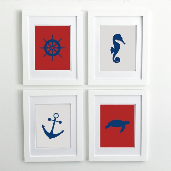 Nautical Nursery - Sea Turtle - Seahorse - Ship Wheel - Sea Animals - Nautical Baby Shower - Coastal Wall Art - Ocean Nursery - Ocean